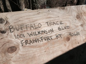 A board found behind the shed with the first five alleged barrels of stolen bourbon.